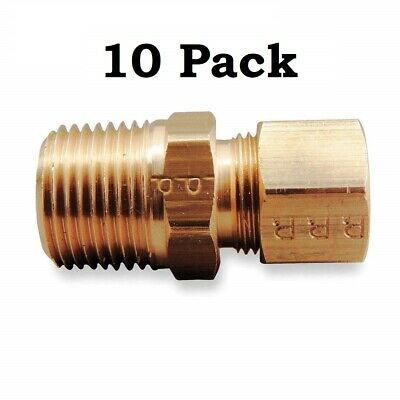 10 Parker Brass Fittings Compression X MNPT Connector Pipe Size 1/2 Tube 3/8