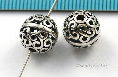 1x BALI STERLING SILVER ROUND FOCAL FLOWER SPACER BEAD 10mm #3128