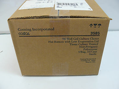 Corning Costar 3585 96 Well Cell Culture Cluster Flat Bottom Case Of 50 New