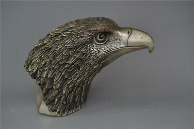 Collection old Chinese copper silvering Hand-made Eagle head statue