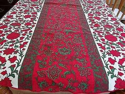 """Vera Neumann Tablecloth Red White Green Floral~66 x 69""""~Vintage~ Cotton~Signed"""