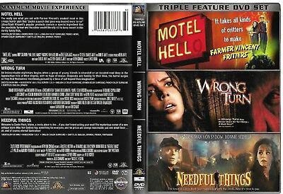 Motel Hell-Wrong Turn-Needful Things (Super RARE OOP 2008 DVD, 3-Disc)