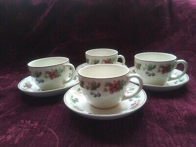 Wedgwood PROVENCE Queensware Cups & Saucers -  4 Sets - FREE U.S. SHIPPING