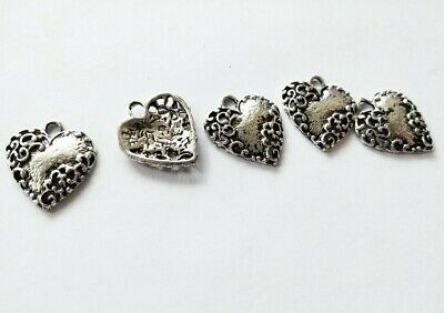 5 Heart Charms Antiqued Silver Scrolled Heart Pendants Ornate Love Findings