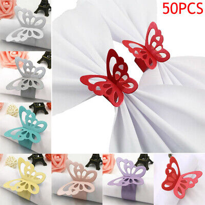QU 50Pcs Butterfly Napkin Ring Paper Holder Table Party Wedding Decor AU