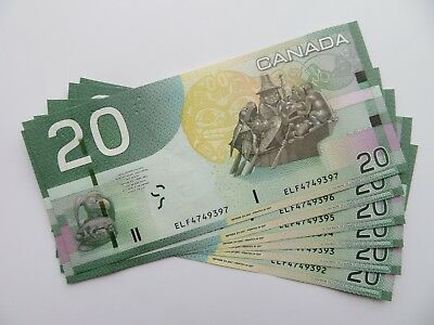 2x 2004 Canadian 20$ Dollar Banknote Consecutive Crispy and Uncirculated ELF