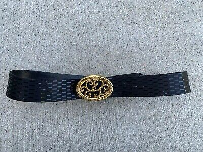 ST JOHN Black Leather Belt Gold Bling Crystals Buckle Women's Small