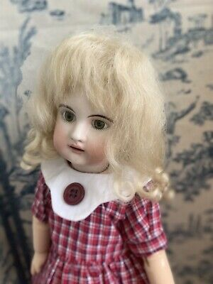 "Doll Wig, 6-7""Jumeau, Bleuette. Center part,bangs long curls, Dark Blonde mohair"
