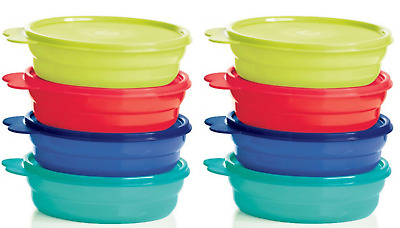 Tupperware Impressions Microwave Safe Cereal Bowls & Seals Set of 8 Brand New