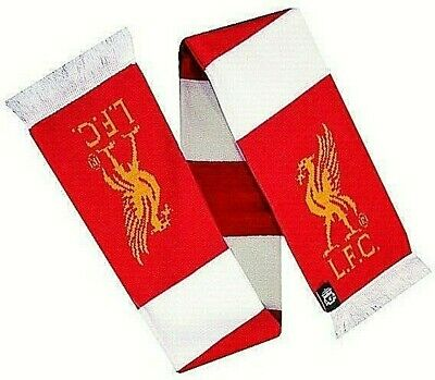 Liverpool Fc Supporters Champions Red & White Bar Scarf Tassels Lfc Club