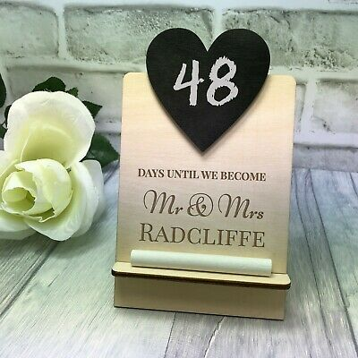 Wedding Countdown Plaque Wooden Sign Chalkboard Personalised Engagement Mr & Mrs