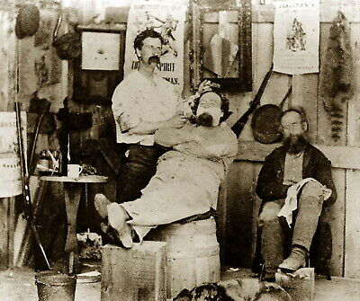 199618 Getting a Shave at A Barber Shop 1869 Wall Print Poster CA