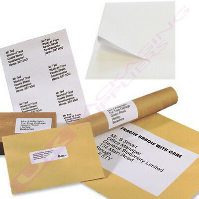 A4 Sheets Of Plain White Self Adhesive Address Labels 32 Per Page *Select Qty*