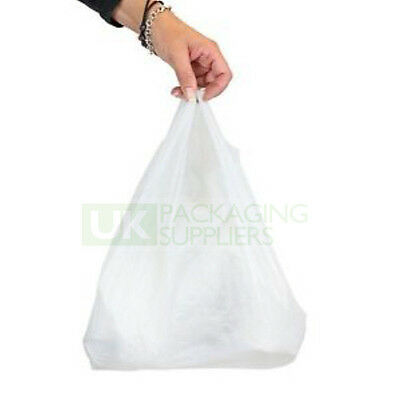 """White Vest Carrier Bags Polythene Plastic Small Size 10x15x18"""" CHOOSE YOUR QTY"""