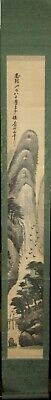 Antique Japanese Hanging Scroll Landscape Painting of Temple and Waterfall