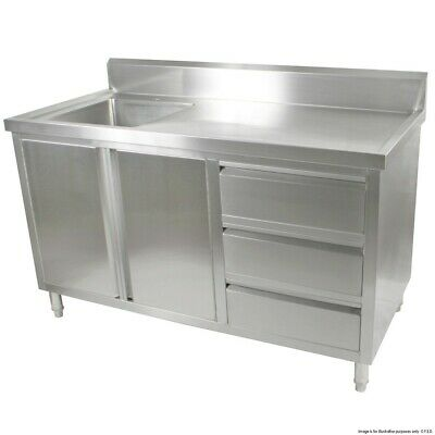 Commercial Ss Stainless Steel Bench Cabinet Left Sink Food Prep Dds-7-1500L