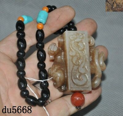 Rare China ming dynasty Hetian Old jade Hand carved Dragon Loong amulet Pendant