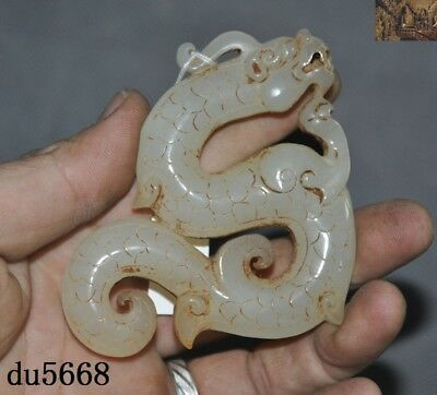 "3"" Rare Chinese Ming Dynasty Funeral Hetian old jade carved Dragon Ritual statue"
