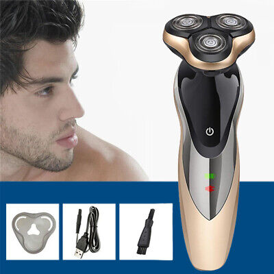 Men's Electric Shaver Rechargeable Cordless USB 3D Dry/ Wet Trimmer Rotary Razor