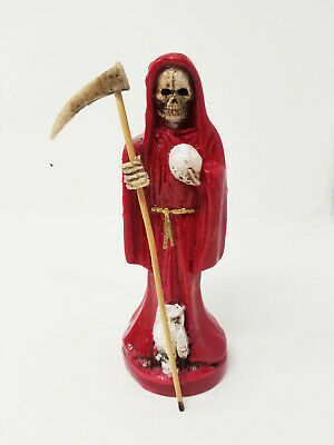 "6.5"" Red Santa Muerte Statue Holy Death Grim Reaper Made in Mexico"