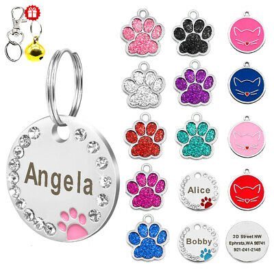 Bling Glitter Paw Round Personalized Dog ID Tags Disc Engraved Puppy Pet Dog Tag