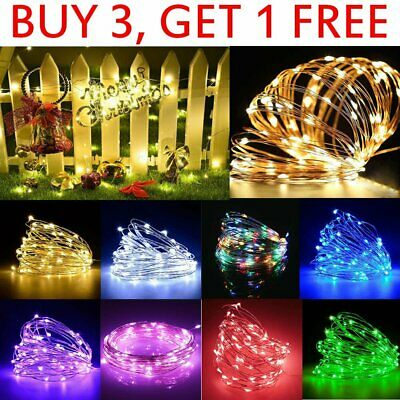 20-100 Small Micro LED Fairy Xmas Lights Silver Wire AAA Battery / USB Powered