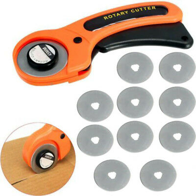 45mm Rotary Cutter + 10x Blades Quilters Quilting Sewing Fabric Cutting Tool