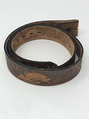 Vintage Hand Tooled CHAMBERS Fisherman Bass Leather Western Belt 45 Brown USA