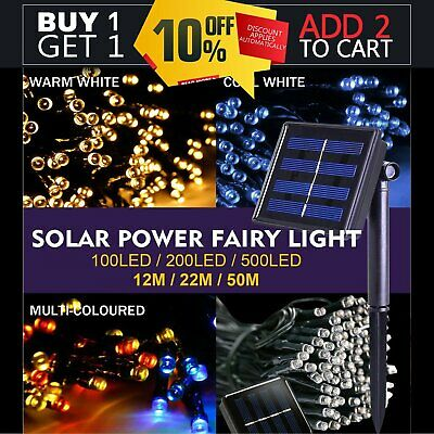 100-500LED Solar Power Fairy Lights Lamp String Garden Outdoor Party Wedding UK