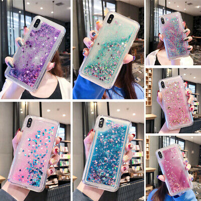 For iPhone XR XS 8 7 6s Plus SE Glitter Dynamic Liquid Quicksand Soft Case Cover
