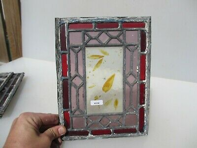 Antique Stained Glass Window Panel Old Leaded Victorian Nature Leaves Leaf