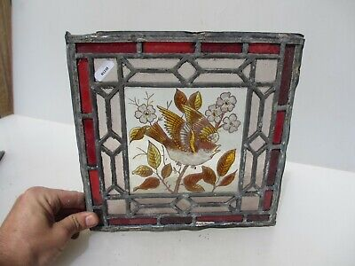 Antique Stained Glass Window Panel Old Leaded Victorian Nature Birds Leaf Bird