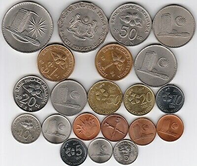 21 different world coins from MALAYSIA