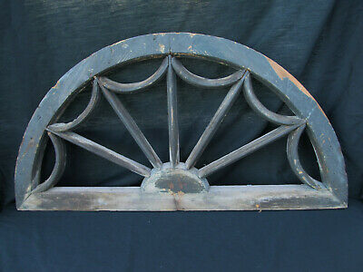 Original American Antique Farm House Half Round Spider Web Attic Window Arched