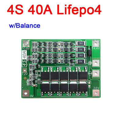4S 40A w/ Balance 12V Lifepo4 Lithium BMS Battery Protection Board f/ drill 3.2v
