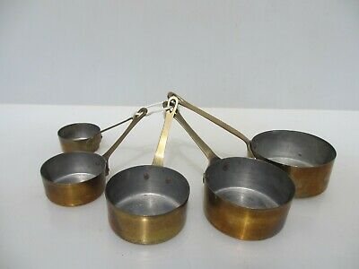Small Vintage Brass Sauce Pan Set Iron Handles French Frying Old Antique Pans