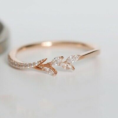Exquisite Women's 18K Rose Gold Leaf Ring Wedding Engagement Jewelry Thin Rings