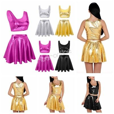 Damen Wetlook Tank Top + Rock Cheerleading Kleid Karneval Fasching Party Kostüm
