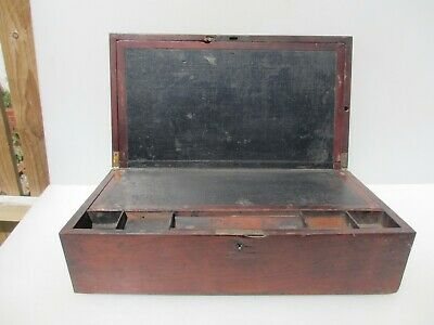 "Victoria Wooden Writing Box Antique Old Crate Wood Display Drawer Vintage 20""W"