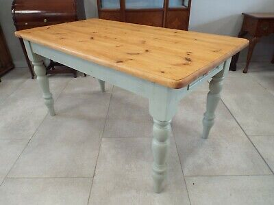 Charming Solid Pine Painted Shabby Chic Farmhouse Dining Table
