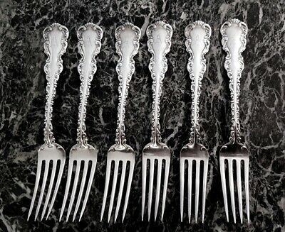 "Louis Xv By Whiting Set Of 6 Sterling Silver Forks 6 7/8"" 208.16 Grams ""A"" Mono"
