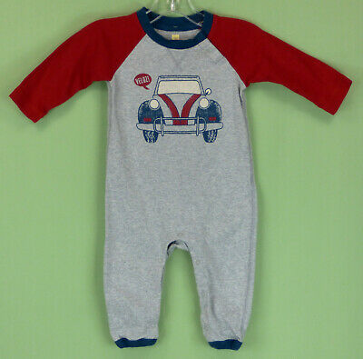278 Tea Collection Baby Boy gray & red Romper Onepiece with car EUC 3-6m