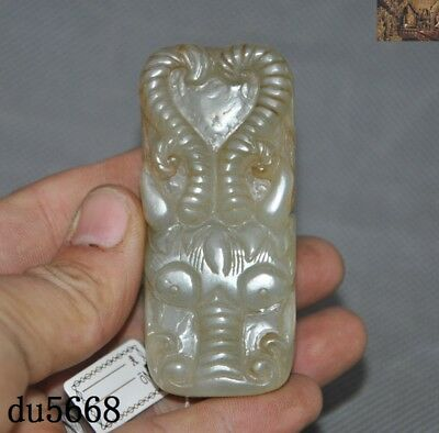 "3""Han Dynasty Natural Hetian Jade Carved Dragon Head Belt buckle Funeral objects"