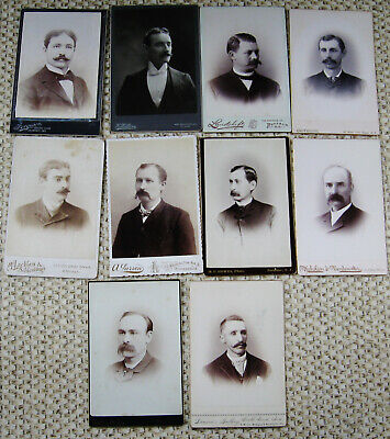 Lot Of 20 Antique Cabinet Photos Various Portraits Of Dapper Men With Mustaches