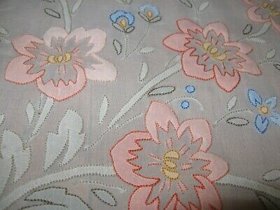 Vintage Lot of 2 Sheer Tablecloths Round & Rectangular Applique Embroidery Print