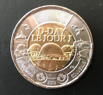 2019 D-Day Toonie Coin Plain Taken From Special Rolls
