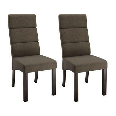 Antonio Tall Back Brown Upholstered Dining Chairs, Set of 2