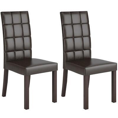 Atwood Dark Brown Leatherette Dining Chairs, Set of 2