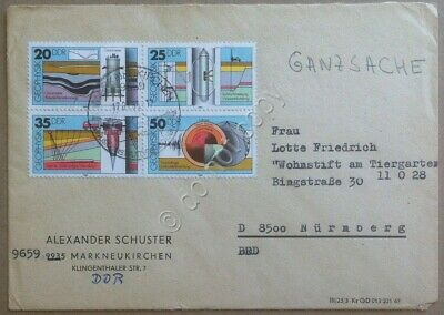 Storia postale DDR Germania Est 1980 Quartina Geological Investigations su busta