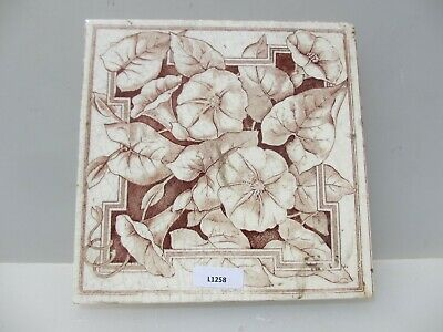 Antique Ceramic Tile Architectural Vintage Floral Flower Leaf Art Nouveau Old